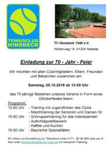 70- Jahr- Feier TC Hinsbeck